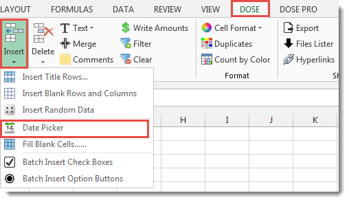 Excel Date picker Insert Date in Cells
