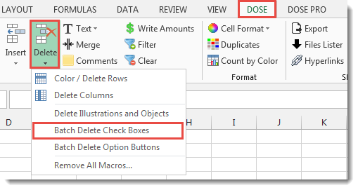 Excel Batch Delete Check Boxes