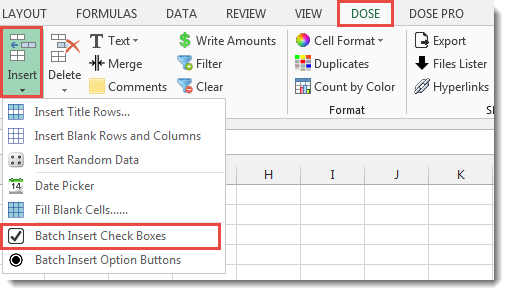 Excel Batch Insert Check Boxes