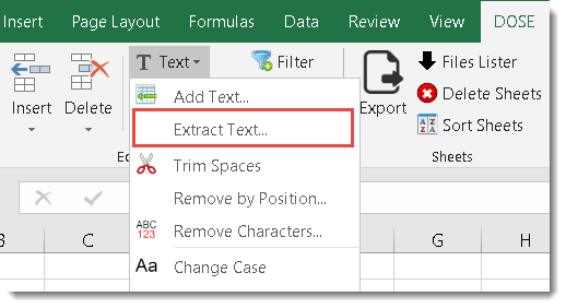 Excel Extract Text
