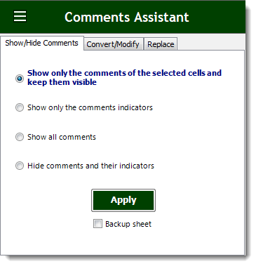 Excel Show Or Hide Comments