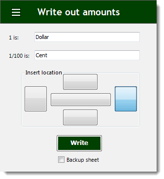 Excel Write Out Amounts