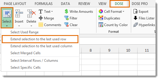 Excel Extend Selection To The Last Used Row