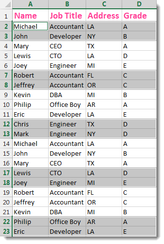 Excel Select Interval Rows / Columns